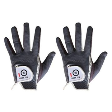 Men Golf Glove Left Hand Right 2 Pack Hot Wet Rain Grip Black Gray Fit Small Medium Large XL By Finger Ten