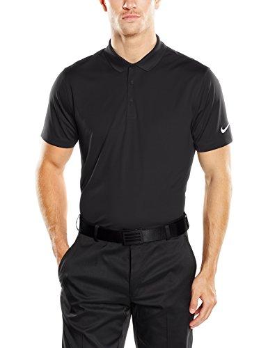 NIKE Golf Men Victory Solid Polo Black White Polo Shirt LG