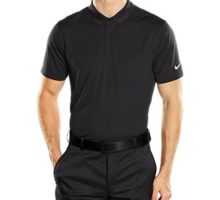 NIKE Golf Men Victory Solid Polo Black White Polo Shirt LG