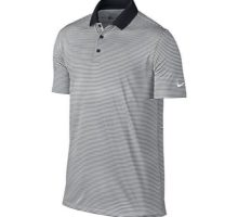 NIKE Men Dry Victory Stripe Polo Black White Medium