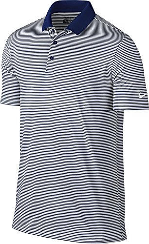 NIKE Men Dry Victory Stripe Polo College Navy White White Large