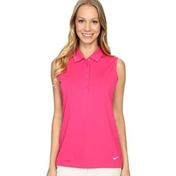 NIKE Women Dry Sleeveless Victory Polo Vivid Pink White XSmall