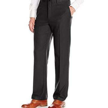 Haggar Men Cool 18 Pro Classic Fit Flat Front Expandable Waist Pant Black 36Wx30L