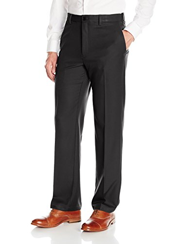 Haggar Men Cool 18 Pro Classic Fit Flat Front Expandable Waist Pant Black 36Wx32L