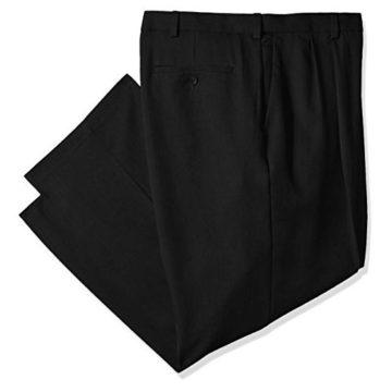 Haggar Men Cool 18 Pro Classic Fit Pleat Front Expandable Waist Pant Black 50Wx30L