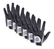 FINGER TEN Men's Golf Gloves Left Hand Right Value 6 Pack Rain Hot Wet Weather Grip Color Black Gray Fit Small Medium Large XL