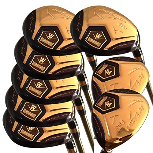 Japan WaZaki 14k Gold Finish Cyclone 4SW Mx Steel Hybrid Irons Golf Club Set + Headcover