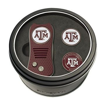Team Golf NCAA Texas A&M Aggies Gift Set Switchfix Divot Tool with 3 DoubleSided Magnetic Ball Markers Patented Single Prong Design Causes Less Damage to Greens Switchblade Mechanism