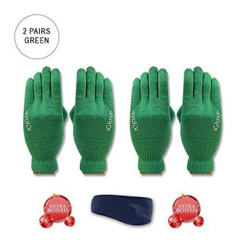 2 Pairs CoolKo Newest Touch Screen Outdoor Gloves Green for Iphones Smartphones and tablets Winter Texting Gloves with SPECIAL BONUS Ear Warmer Head Band