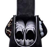 Athletico Golf Shoe Bag  Zippered Shoe Carrier Bags with Ventilation & Outside Pocket for Socks Tees etc Perfect Storage