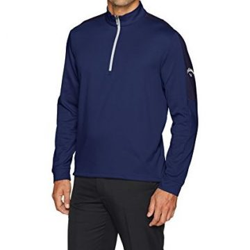 Callaway Men OptiTherm Long Sleeve Heather WaffleFleeced 1 4 Zip Midlayer Jacket XLarge Blueprint Heather
