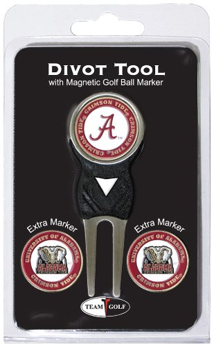 Team Golf NCAA Alabama Crimson Tide Divot Tool with 3 Golf Ball Markers Pack Markers are Removable Magnetic DoubleSided Enamel