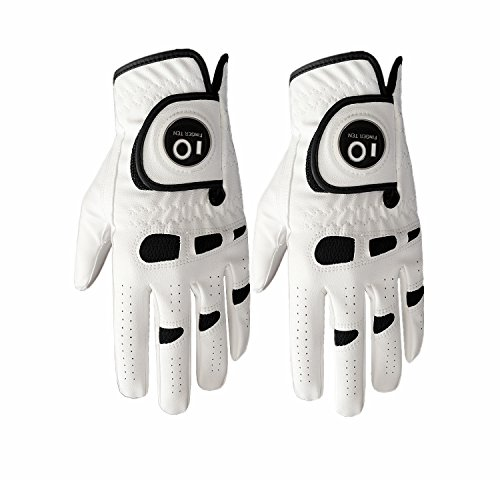 FINGER TEN Men's Golf Glove Left Hand Right with Ball Marker Value 2 Pack Weathersof Grip Soft Comfortable Fit Size Small Medium ML Large XL