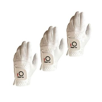 FINGER TEN Mens Golf Glove Rain Grip Value 3 Pack Black White Left Hand Fit Right Handed Golfer All Weather Durable Grip Size Small Medium Large XL