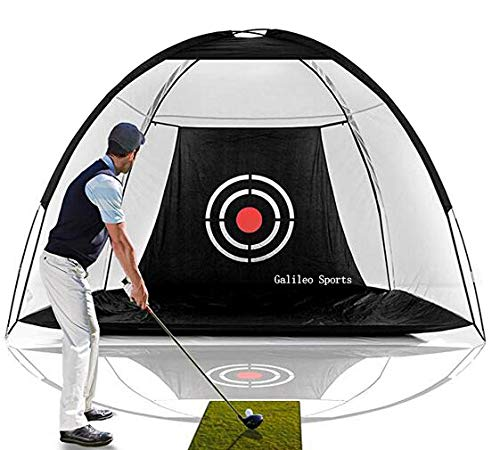 Galileo Golf Net Training Aids Hitting Practice Training Nets for Backyard Driving Range Indoor Use Golf Cage Tent Swing Training Aid with Target 10'x65'x6'