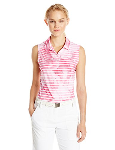 Puma Golf 2017 Women Bloom Stripe Sleeveless Polo Shocking Pink Medium