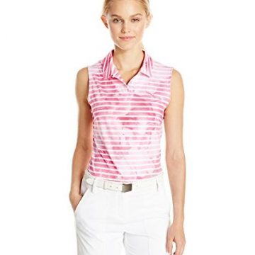 Puma Golf 2017 Women Bloom Stripe Sleeveless Polo Shocking Pink Medium