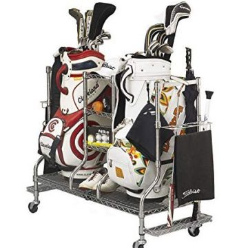 SafeRacks Deluxe Golf Equipment Organizer Rack | HeavyDuty Steel Wire Shelf ExtraWide | Fits 2 ExtraLarge Bags Plus Accessories