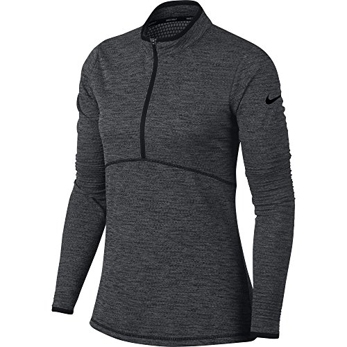 NIKE Women Dry Half Zip Golf Shirt Black Black Small