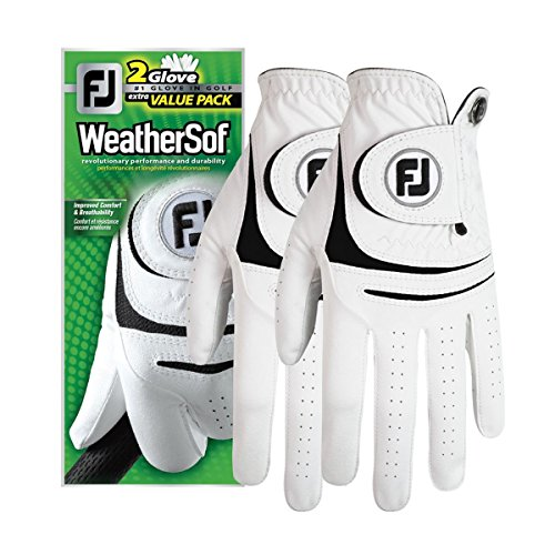 FootJoy WeatherSof 2Pack Golf Gloves 2018 Regular White Black Fit to Left Hand Medium Large