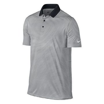 NIKE Men Dry Victory Stripe Polo Black White Large