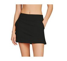 Cityoung Women Golf Pleated Flat Skort with Pockets MBlacka