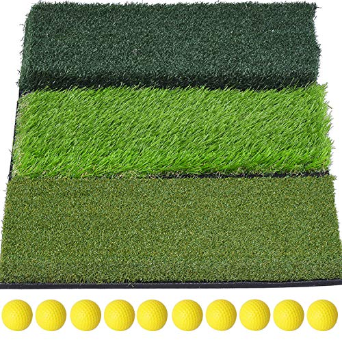 SkyLife 3Turf Golf Hitting Grass Mat Portable Training Fairway Rough TEE Turf Driving Chipping Putting Golf Equipment Home Backyard Garage Outdoor Practice 25''x16''