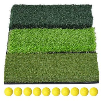 "SkyLife 3Turf Golf Hitting Grass Mat Portable Training Fairway Rough TEE Turf Driving Chipping Putting Golf Equipment Home Backyard Garage Outdoor Practice 25""x16"""
