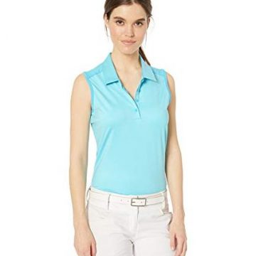 adidas Golf Ultimate Sleeveless Polo Bright Cyan Heather XLarge