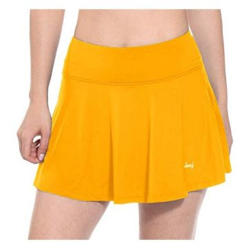 BALEAF Women Workout Training Skirts Active Skort Tennis Golf Skirt Yellow Size M