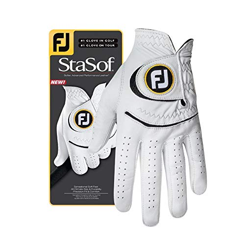 FootJoy Men StaSof Golf Glove White Medium Large Worn on Left Hand