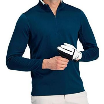 Golf Half Zip Pullover Men  Fleece Sweater Jacket  Mens Dry Fit Golf Shirts Navy Blue