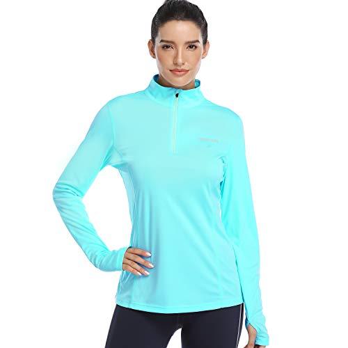 HISKYWIN Womens UPF 50+ Sun Protection Tops Long Sleeve HalfZip Thumb Hole Outdoor Performance Workout Shirt HF806 Light Green S