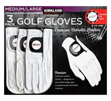 Kirkland Signature Men Golf Gloves Premium Cabretta Leather Medium Large 3 Pack