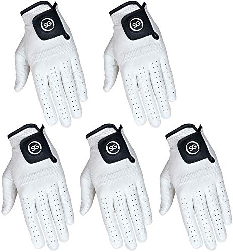Pack of 5 Men White Cabretta Leather Golf Gloves Both Right and Left Hands