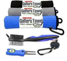 Fireball Golf 5Piece Deluxe Golf Towel Gift Accessories Set in Blue