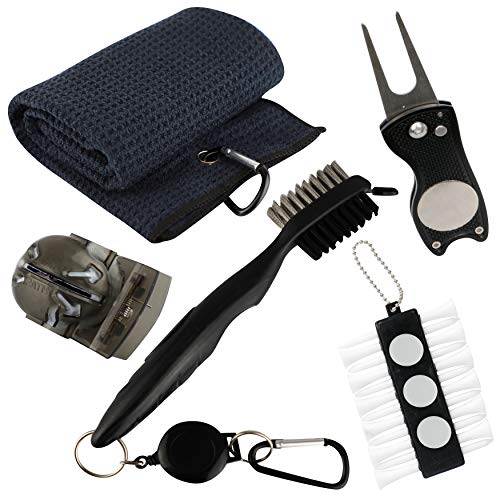 VIXYN Golf Accessories Gift Set  Golf Towel Golf Club Brush with Groove Cleaner Foldable Divot Repair Tool with Ball Marker Golf Ball Line Marker and Tees with Holder  Golf Club Cleaning Kit