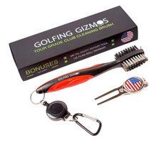 Golf Club Brush Cleaner  Premium Tour Grade and Heavy Duty  Ideal Golf Gift For Golfers  Bonus Golf Divot Tool  Golfing Gizmos