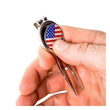 Golf Divot Tool and USFlag Magnetic Ball Marker  Heavyduty Steel