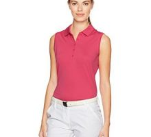 NIKE Women Dry Sleeveless Victory Polo Vivid Pink White Small