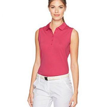 NIKE Women Dry Sleeveless Victory Polo Vivid Pink White Small