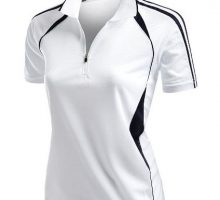 Womens Coolmax Sporty Fill Zipup Short sleeve Polo TShirt WHITE L