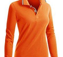 CLOVERY Women Casual Basic Long Sleeve Basic Polo Shirts ORANGE US M   Tag M