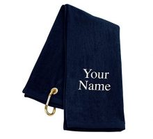 TriFold Personalized Golf Towel  Navy