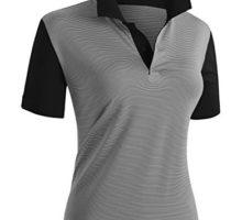 CLOVERY Women Casual Basic Short Sleeve Basic Polo Shirts BLACK US L   Tag L
