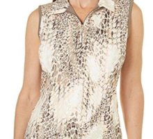 Coral Bay Golf Womens Sleeveless Animal Print Polo Shirt Medium Beige Multi