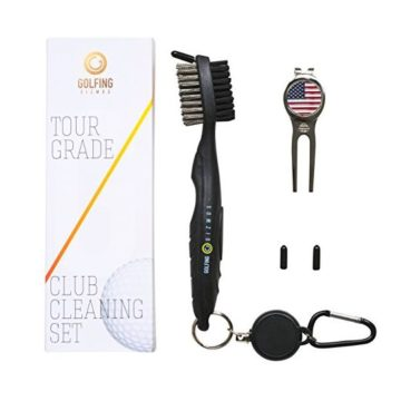 Golf Club Brush Cleaner  Premium Tour Grade and Heavy Duty  Ideal Golf Gift For Golfers  Bonus Golf Divot Tool  Golfing Gizmos