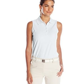 Greg Norman Collection Women Protek Micro Pique Sleeveless Polo Shirt White Large