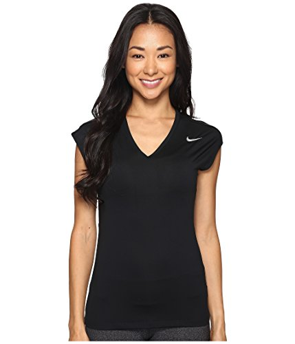 NIKE Women Dry Golf Top Black Metallic Silver Medium