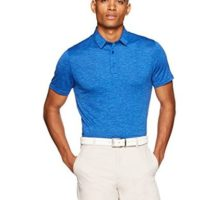Amazon Essentials Men's Tech Stretch Polo Shirt Royal Blue Heather Large